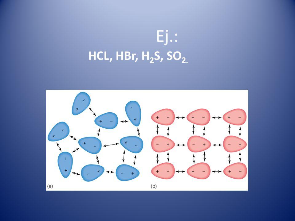 Ej.: HCL, HBr, H2S, SO2.