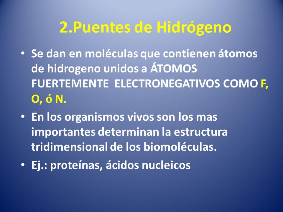 2.Puentes de Hidrógeno Se dan en moléculas que contienen átomos de hidrogeno unidos a ÁTOMOS FUERTEMENTE ELECTRONEGATIVOS COMO F, O, ó N.