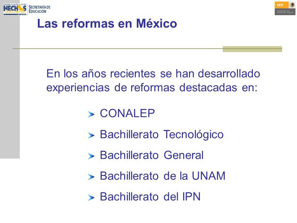 Las reformas en México En los años recientes se han desarrollado experiencias de reformas destacadas en: