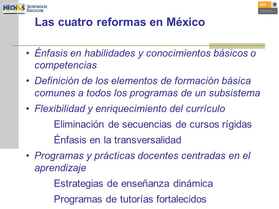 Las cuatro reformas en México