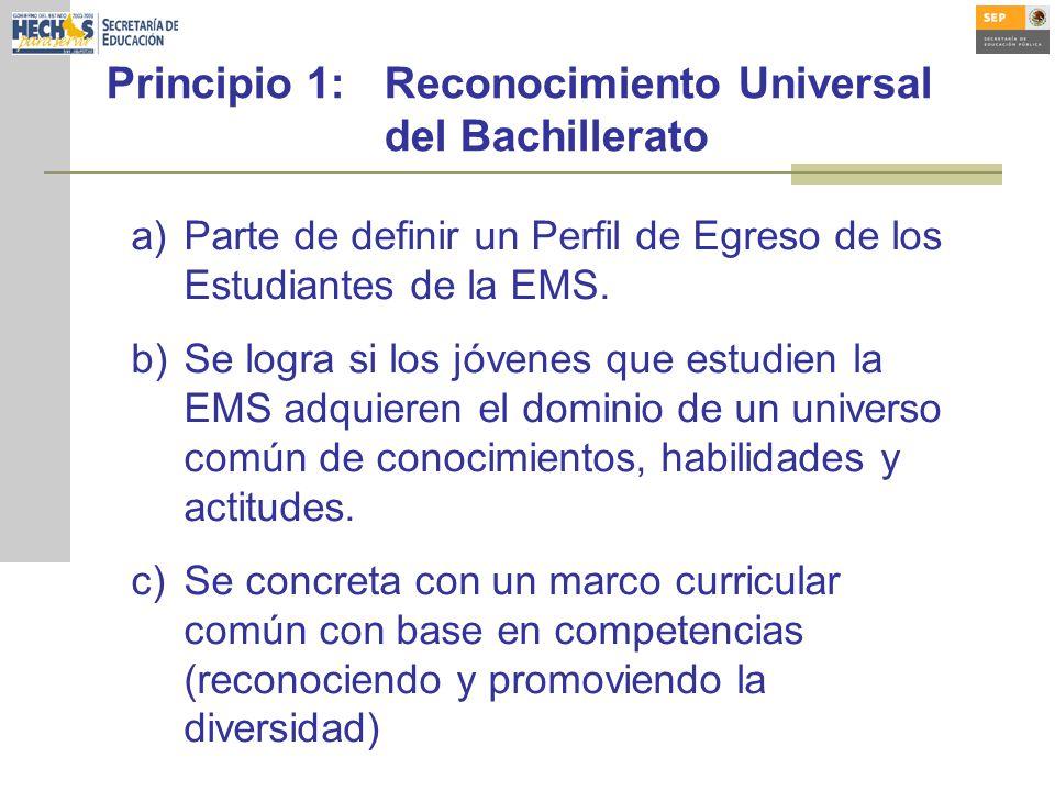 Principio 1: Reconocimiento Universal del Bachillerato