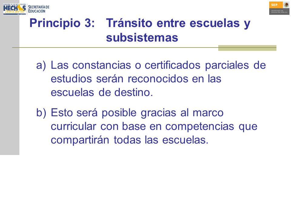 Principio 3: Tránsito entre escuelas y subsistemas