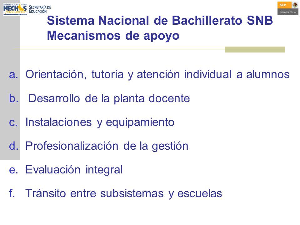 Sistema Nacional de Bachillerato SNB Mecanismos de apoyo