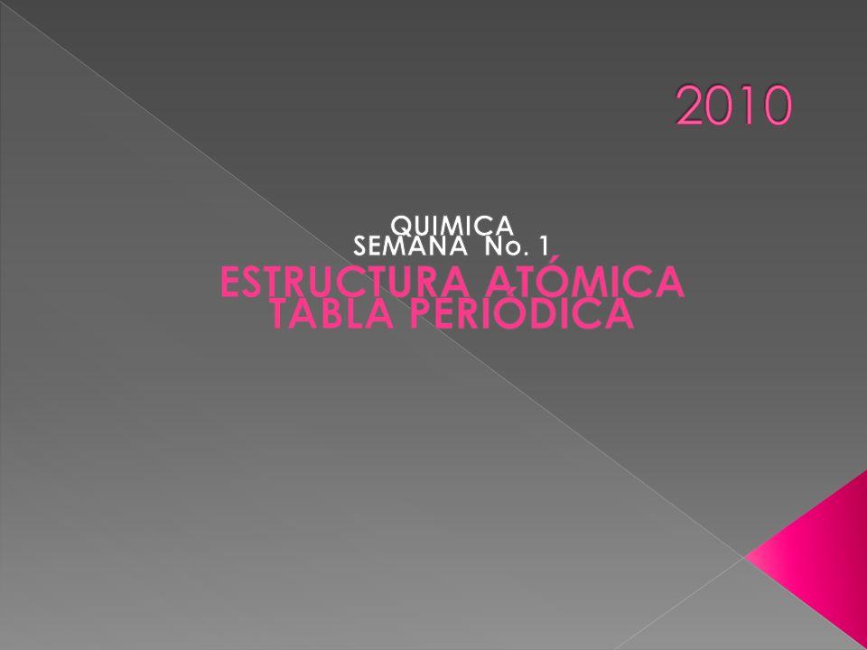 QUIMICA SEMANA No. 1 ESTRUCTURA ATÓMICA TABLA PERIÓDICA