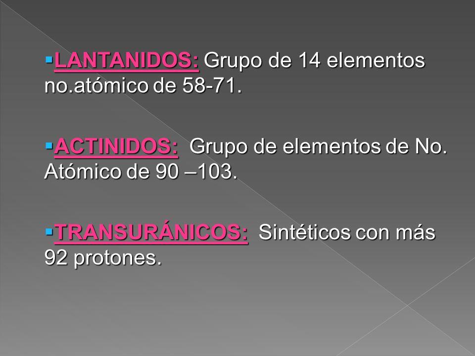 LANTANIDOS: Grupo de 14 elementos no.atómico de 58-71.