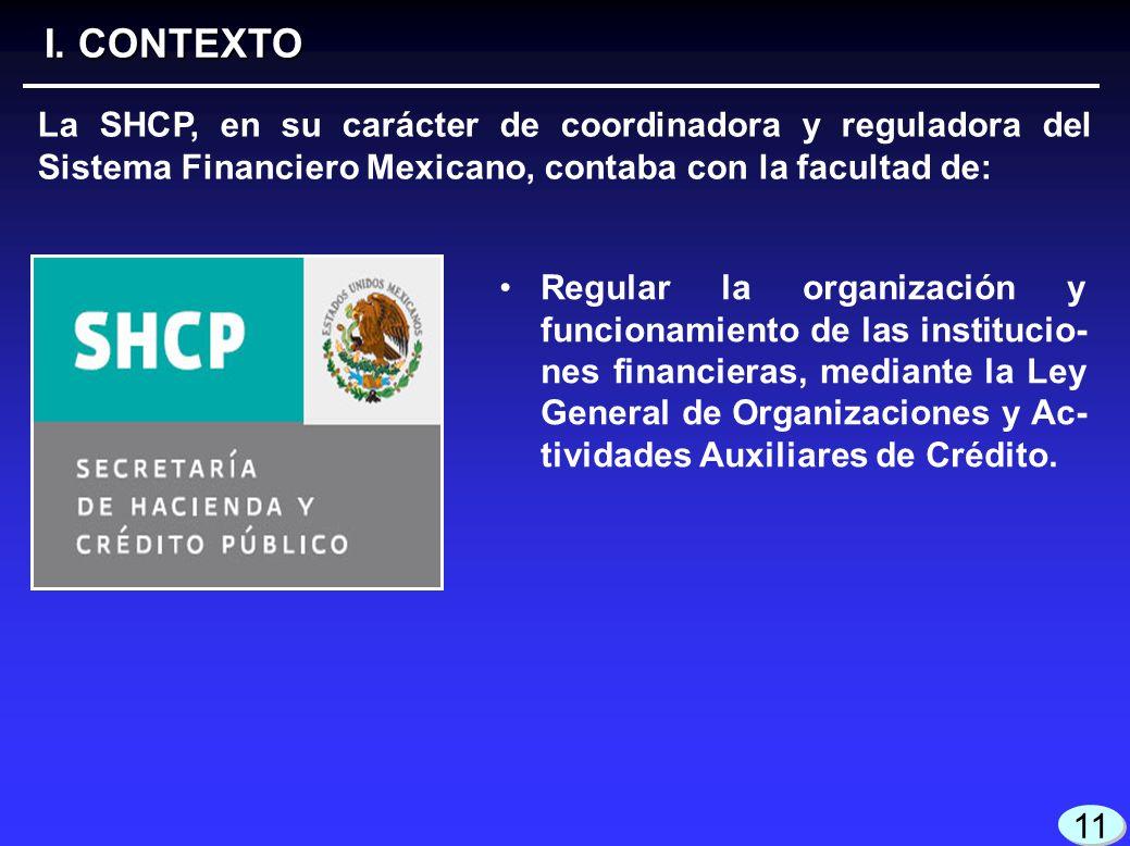 I. CONTEXTO La SHCP, en su carácter de coordinadora y reguladora del Sistema Financiero Mexicano, contaba con la facultad de: