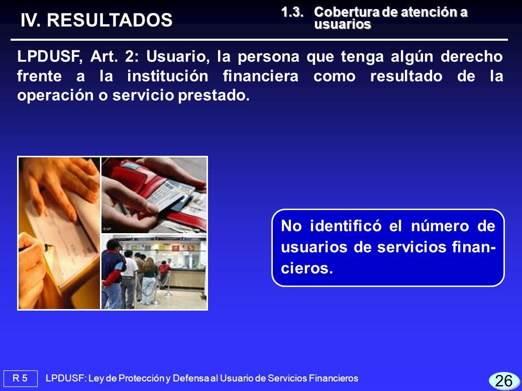 IV. RESULTADOS 1.3. Cobertura de atención a usuarios.