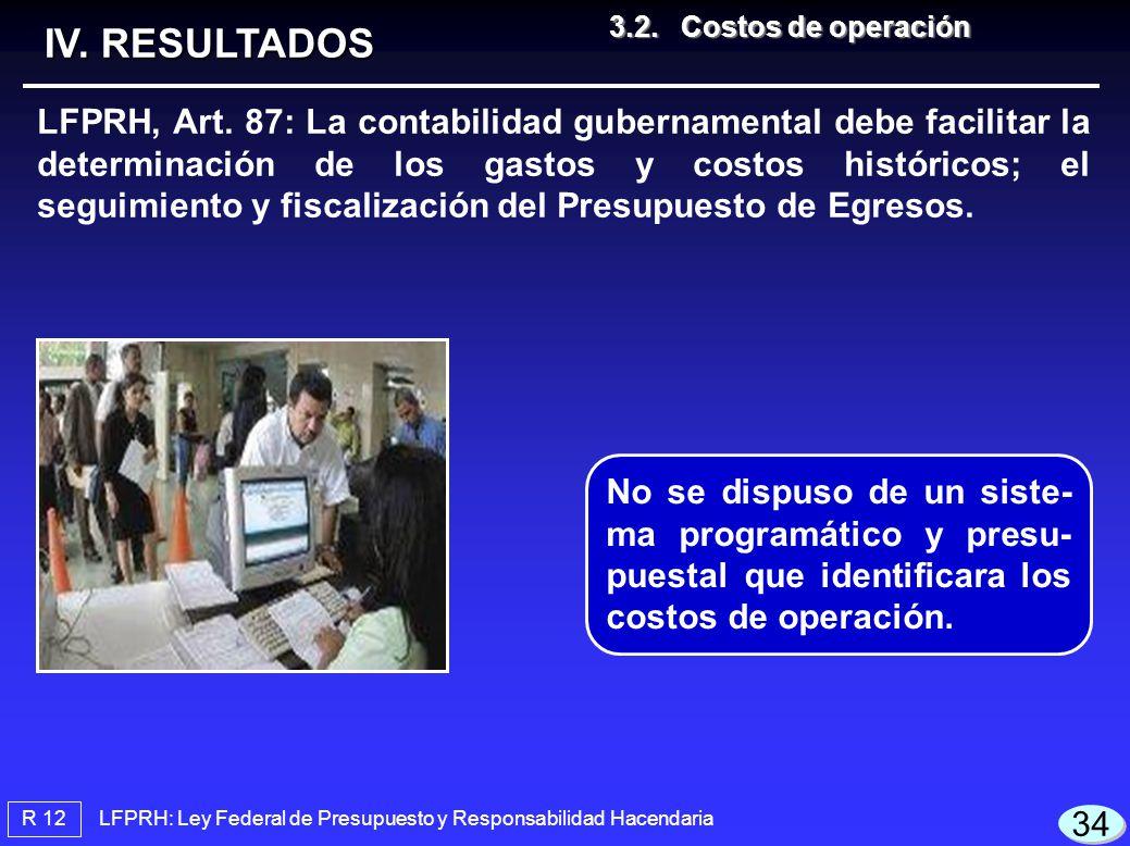 IV. RESULTADOS 3.2. Costos de operación.