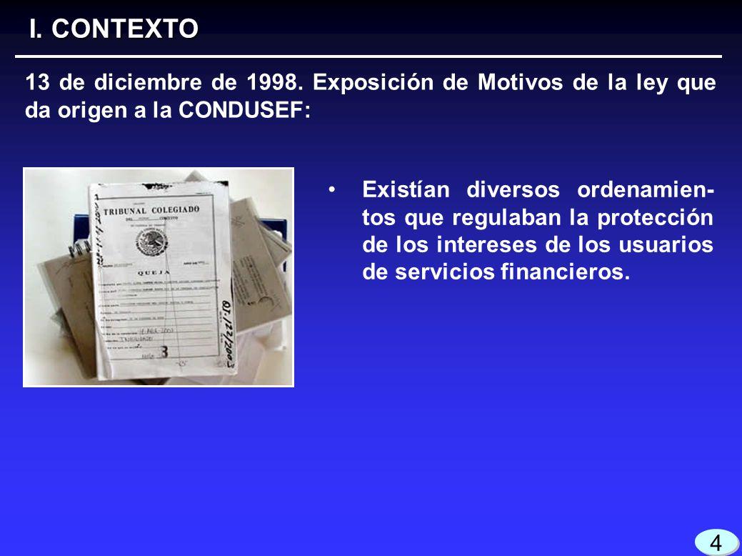 I. CONTEXTO 13 de diciembre de 1998. Exposición de Motivos de la ley que da origen a la CONDUSEF: