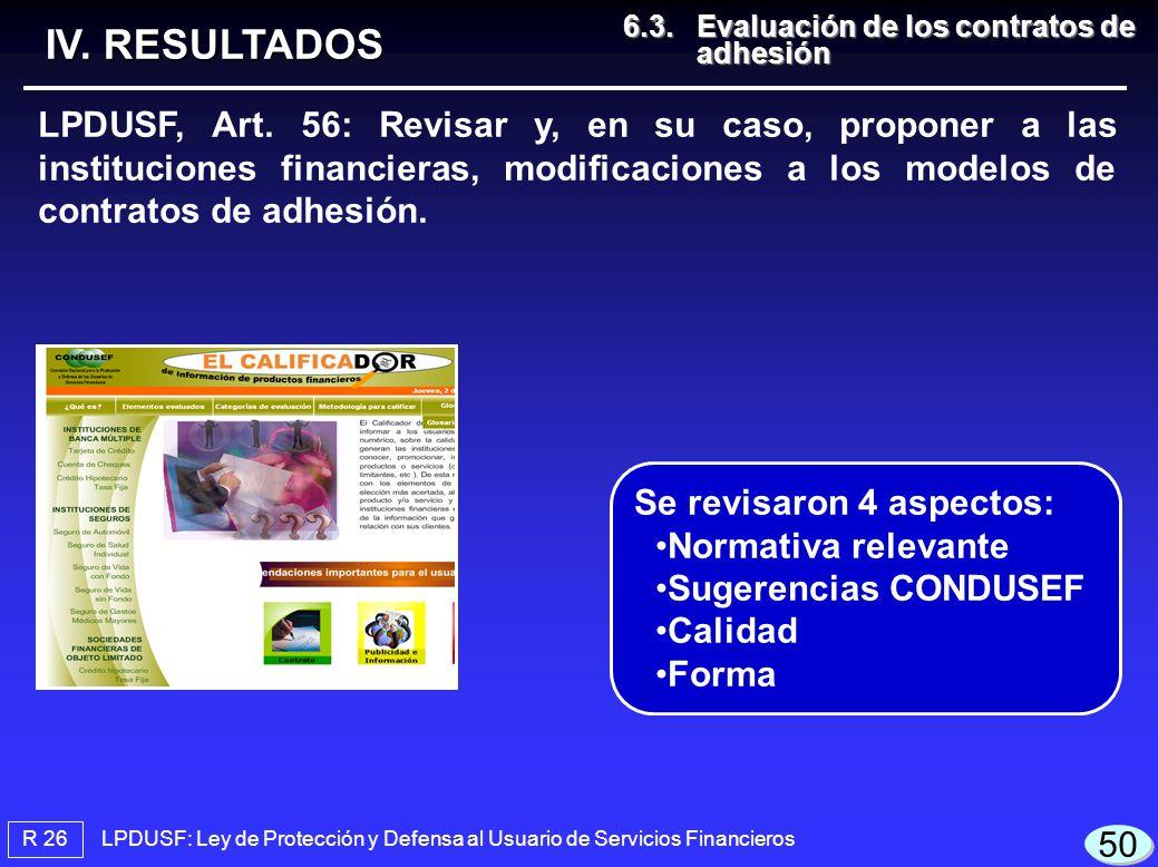 IV. RESULTADOS 6.3. Evaluación de los contratos de adhesión.