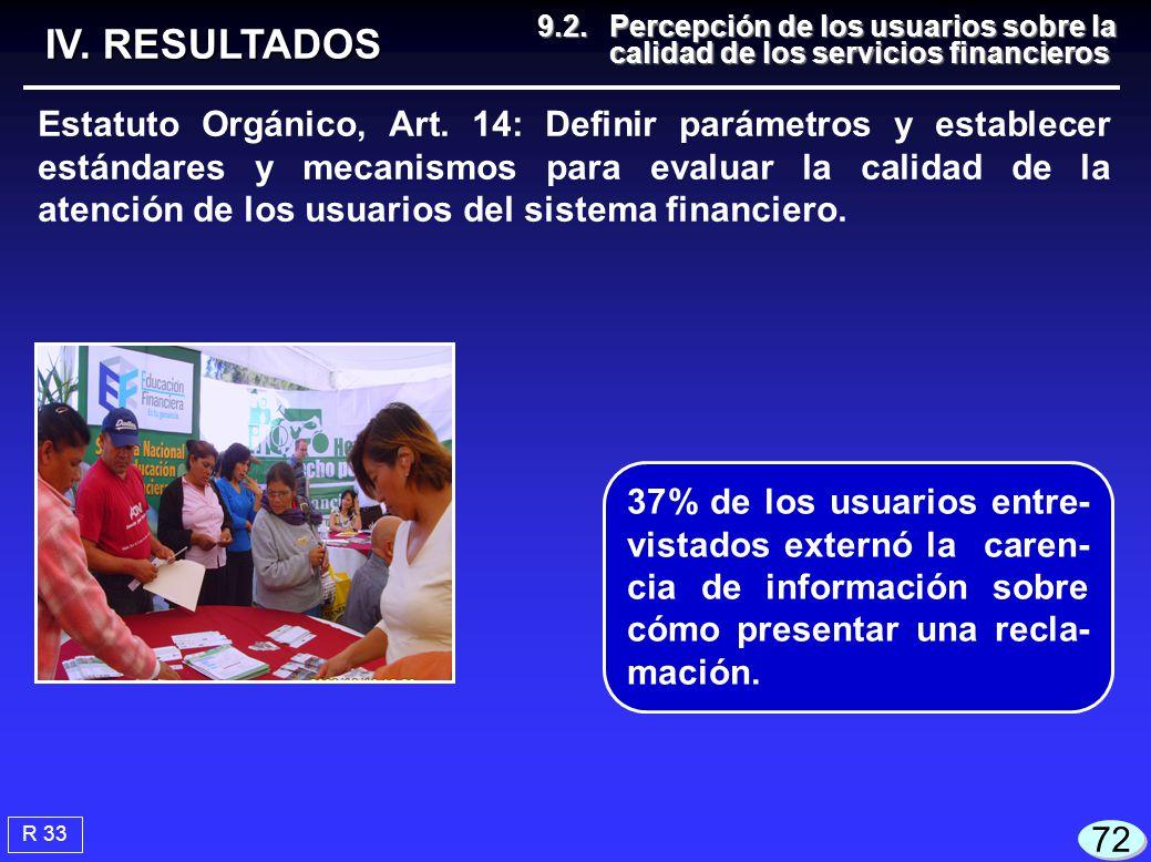 IV. RESULTADOS 9.2. Percepción de los usuarios sobre la calidad de los servicios financieros.