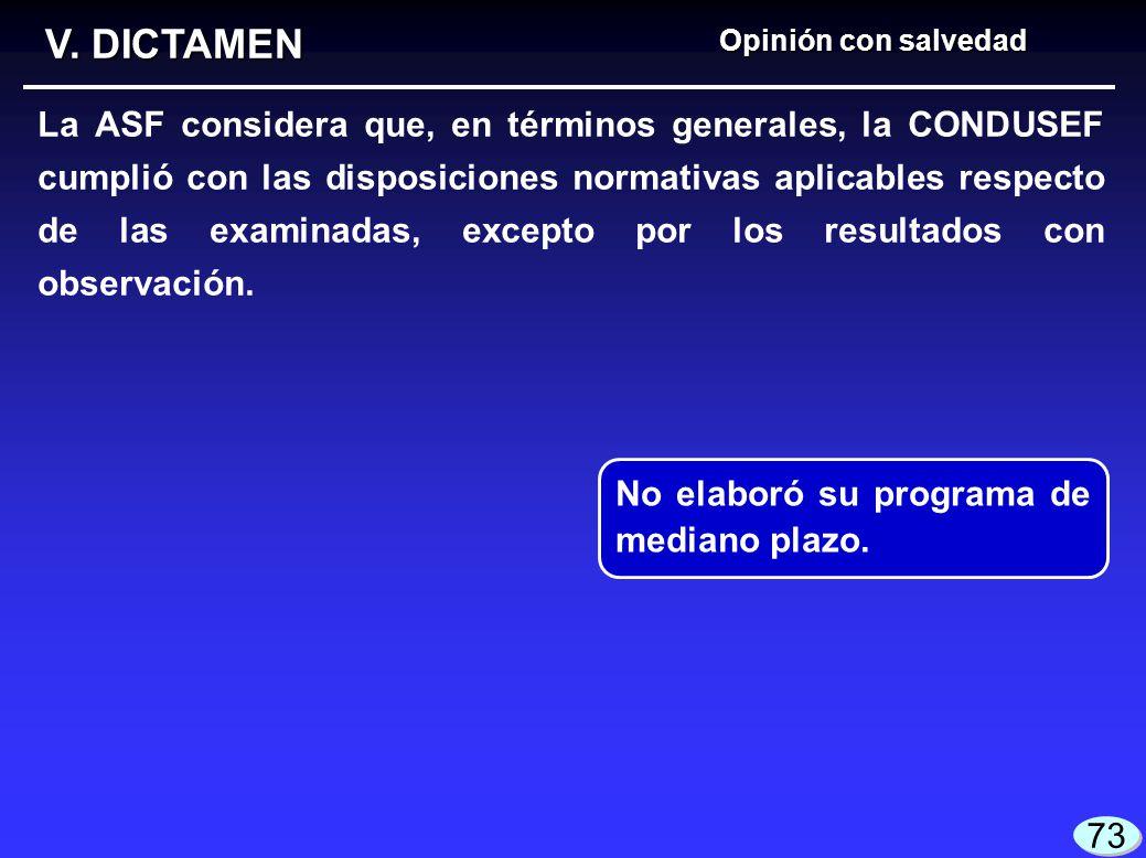 V. DICTAMEN Opinión con salvedad.