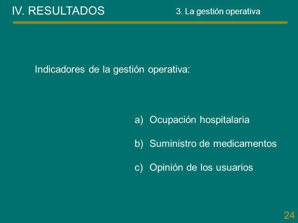 IV. RESULTADOS Indicadores de la gestión operativa: