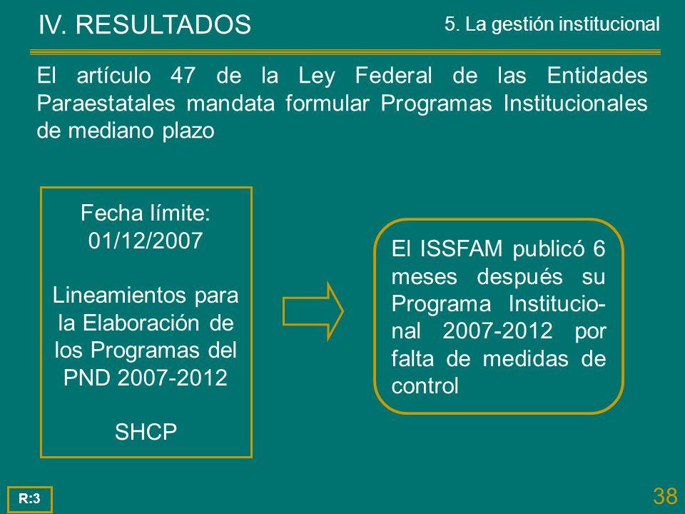 IV. RESULTADOS 5. La gestión institucional.