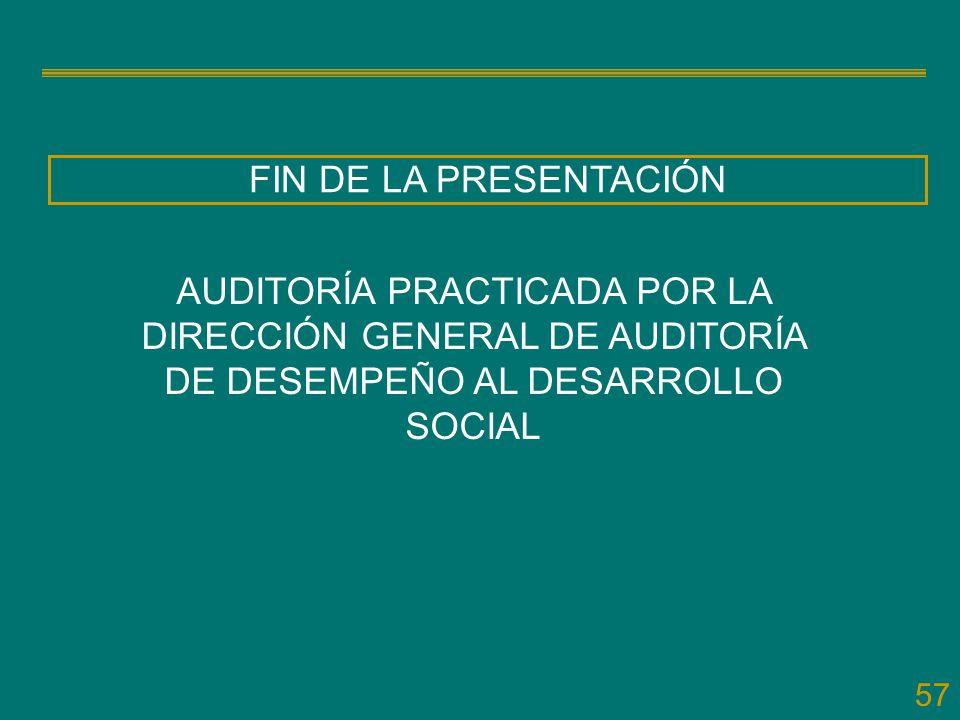 FIN DE LA PRESENTACIÓN AUDITORÍA PRACTICADA POR LA DIRECCIÓN GENERAL DE AUDITORÍA DE DESEMPEÑO AL DESARROLLO SOCIAL.