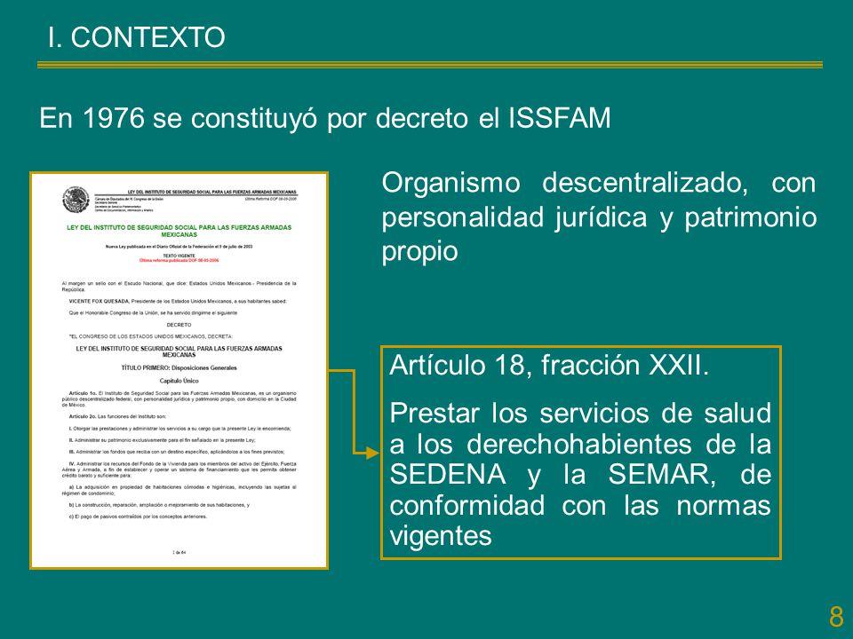 I. CONTEXTO En 1976 se constituyó por decreto el ISSFAM. Organismo descentralizado, con personalidad jurídica y patrimonio propio.