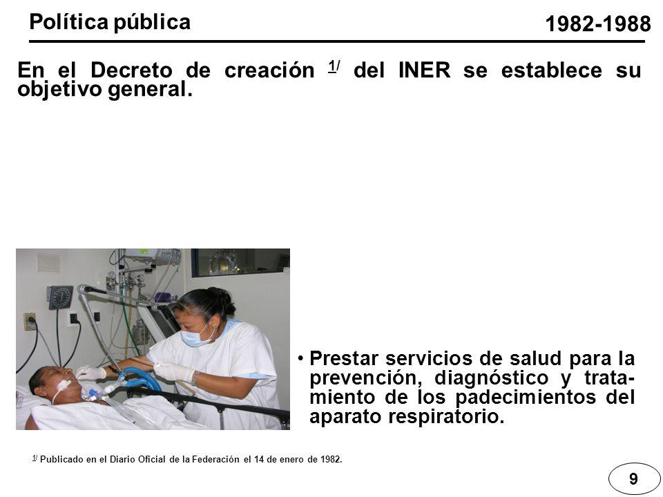 Política pública 1982-1988. En el Decreto de creación 1/ del INER se establece su objetivo general.
