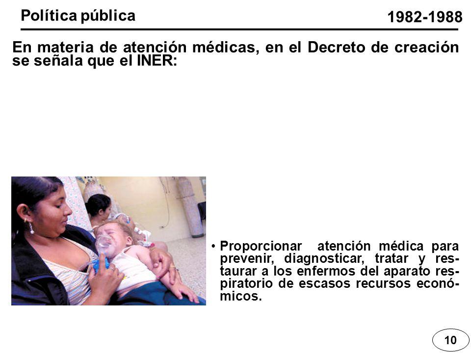 Política pública 1982-1988. En materia de atención médicas, en el Decreto de creación se señala que el INER:
