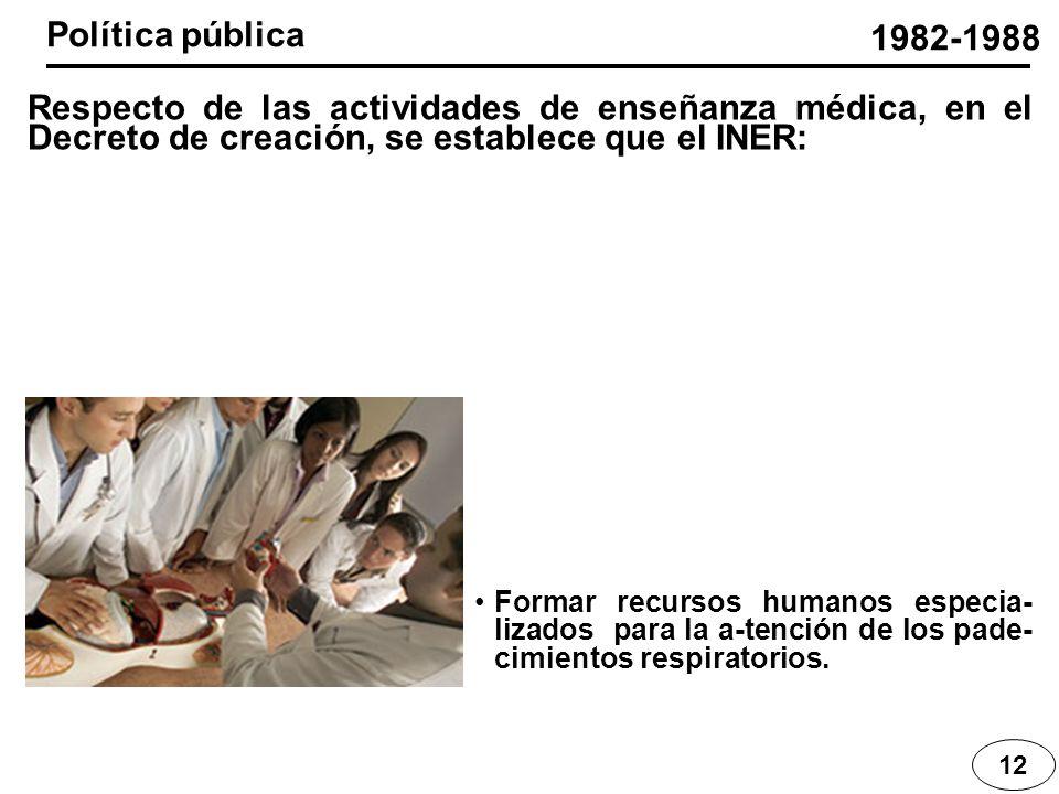Política pública 1982-1988. Respecto de las actividades de enseñanza médica, en el Decreto de creación, se establece que el INER: