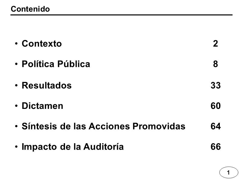 Síntesis de las Acciones Promovidas 64 Impacto de la Auditoría 66