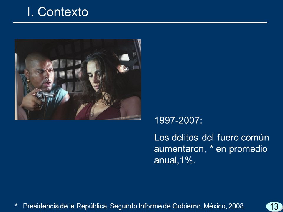 I. Contexto 1997-2007: Los delitos del fuero común aumentaron, * en promedio anual,1%.