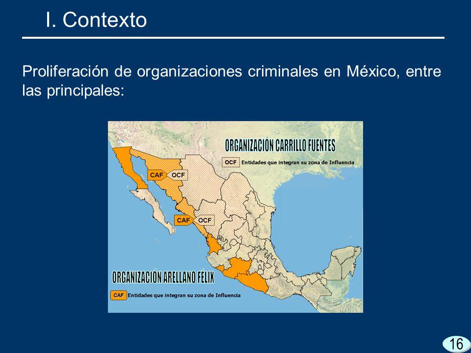 I. Contexto Proliferación de organizaciones criminales en México, entre las principales: 16 16