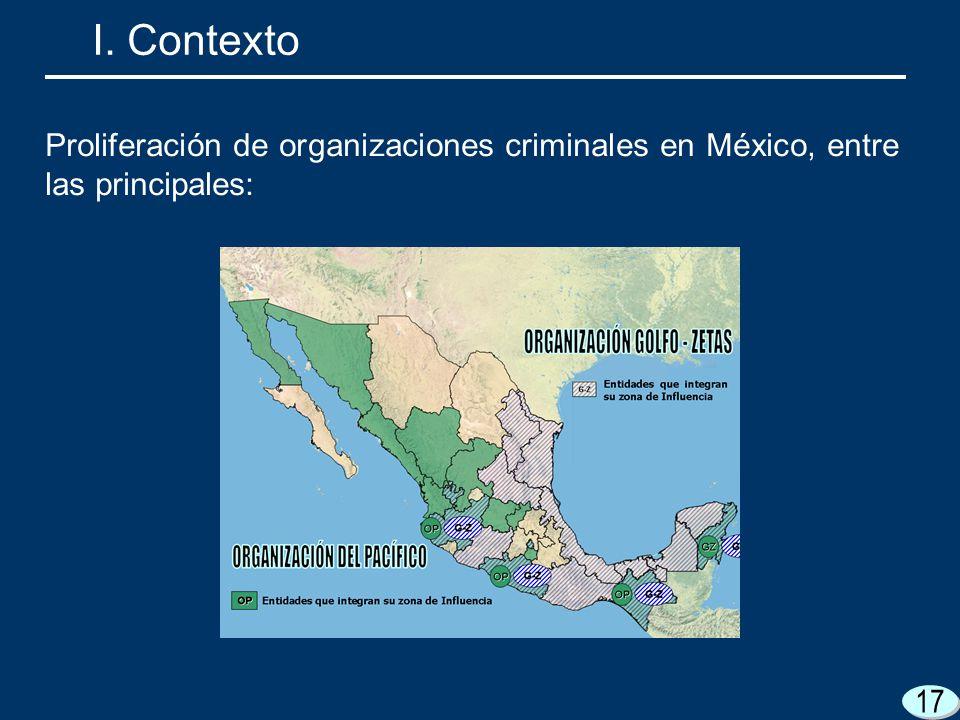 I. Contexto Proliferación de organizaciones criminales en México, entre las principales: 17 17