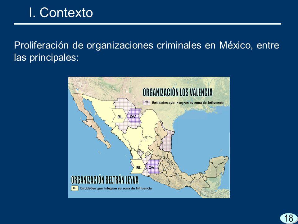 I. Contexto Proliferación de organizaciones criminales en México, entre las principales: 18 18