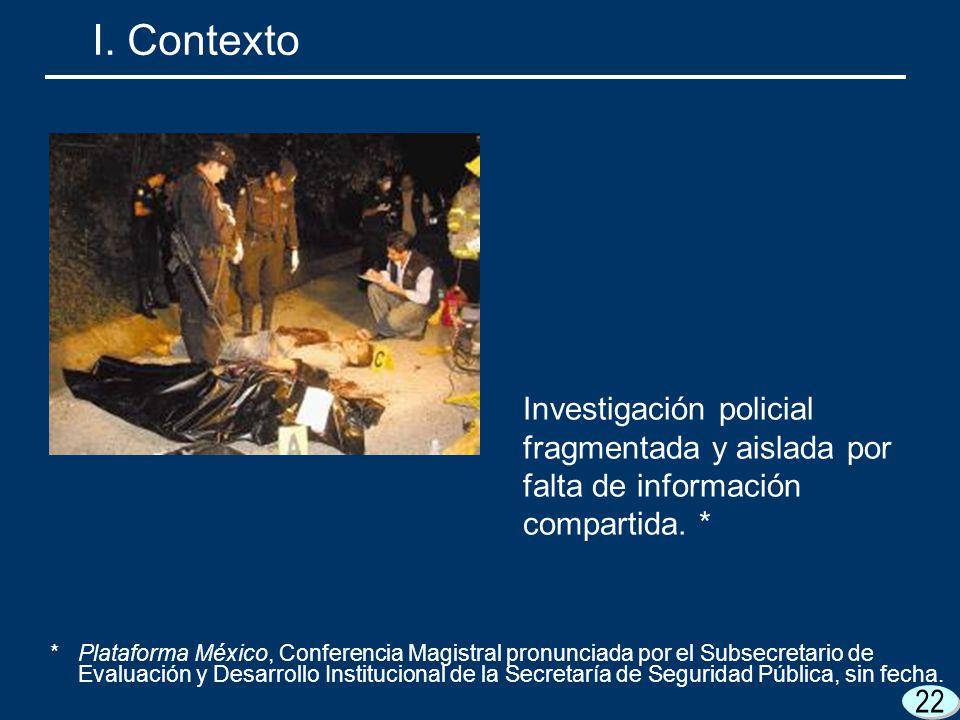 I. Contexto Investigación policial fragmentada y aislada por falta de información compartida. *