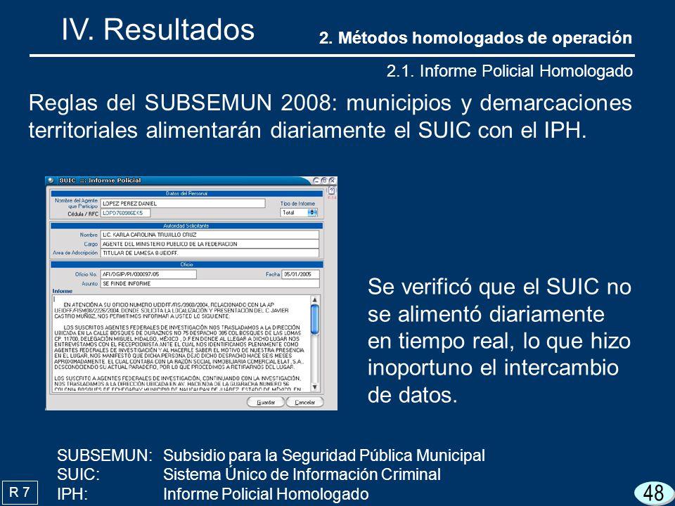 IV. Resultados 2. Métodos homologados de operación. 2.1. Informe Policial Homologado.