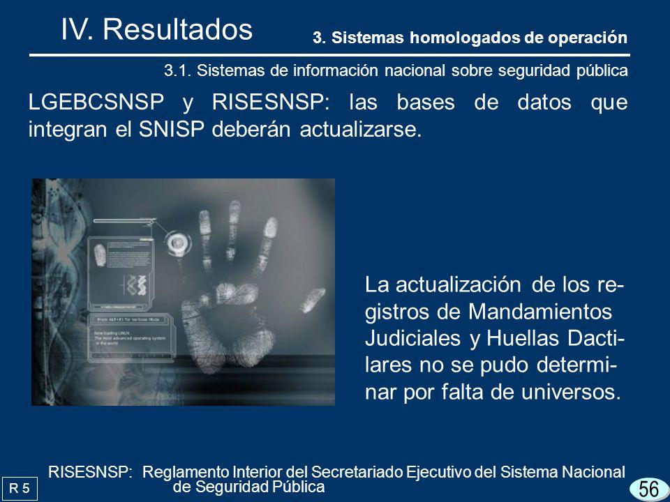 IV. Resultados 3. Sistemas homologados de operación. 3.1. Sistemas de información nacional sobre seguridad pública.