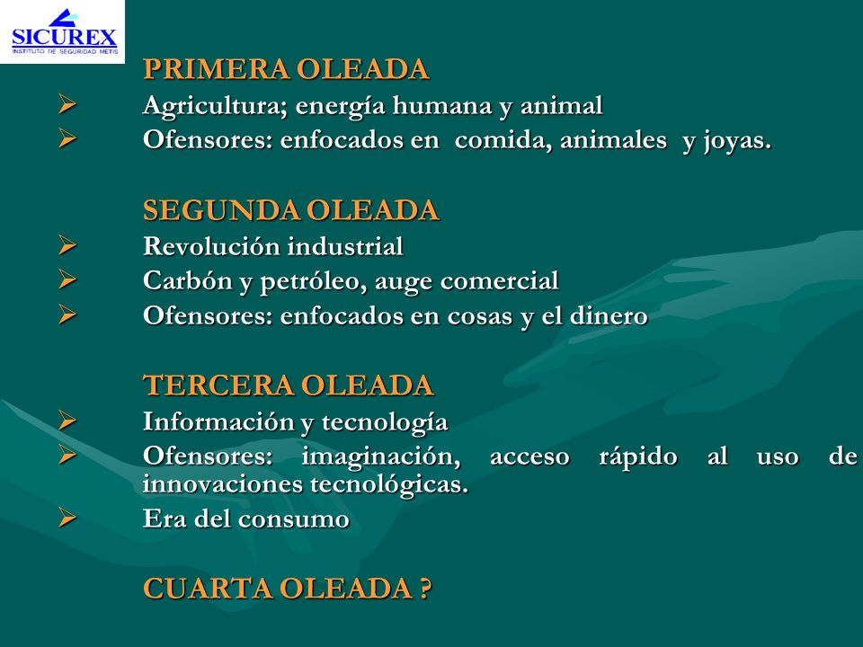 PRIMERA OLEADAAgricultura; energía humana y animal. Ofensores: enfocados en comida, animales y joyas.