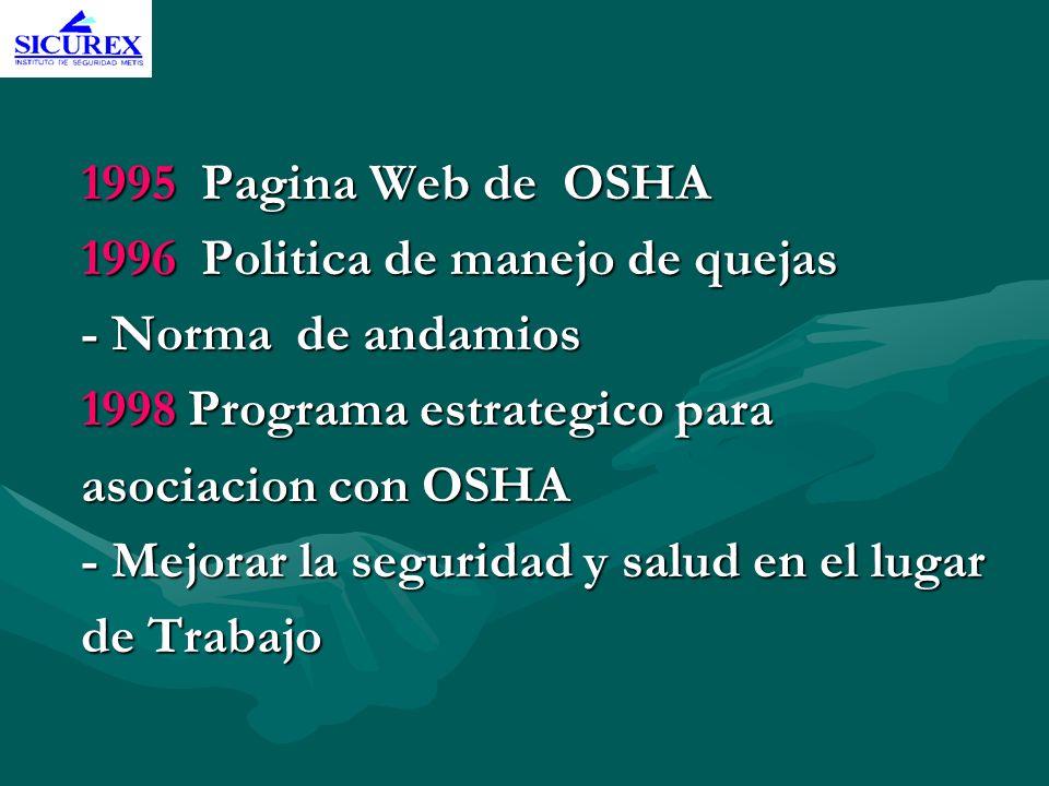 1995 Pagina Web de OSHA 1996 Politica de manejo de quejas. - Norma de andamios. 1998 Programa estrategico para.
