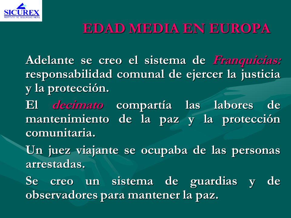 EDAD MEDIA EN EUROPA Adelante se creo el sistema de Franquicias: responsabilidad comunal de ejercer la justicia y la protección.