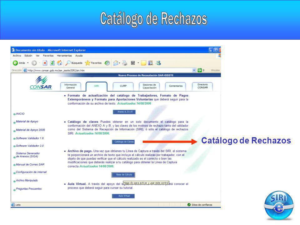 Catálogo de Rechazos Catálogo de Rechazos