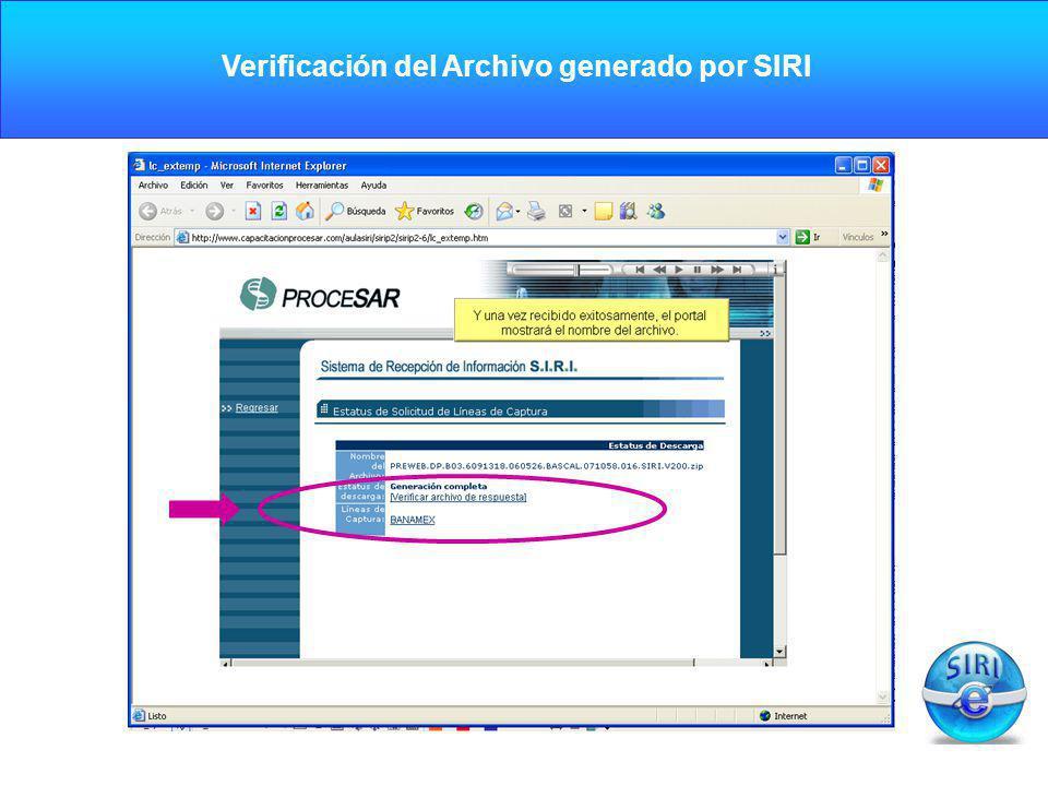 Verificación del Archivo generado por SIRI