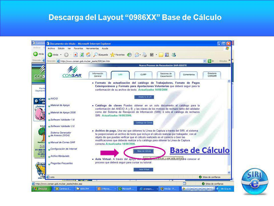 Descarga del Layout 0986XX Base de Cálculo