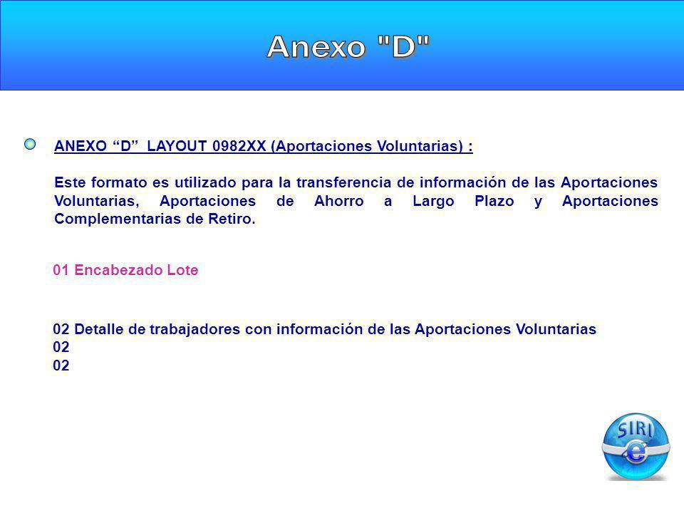 Anexo D ANEXO D LAYOUT 0982XX (Aportaciones Voluntarias) :