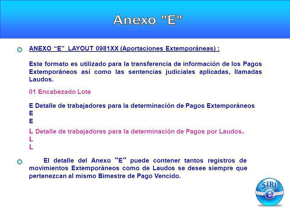 Anexo E ANEXO E LAYOUT 0981XX (Aportaciones Extemporáneas) :