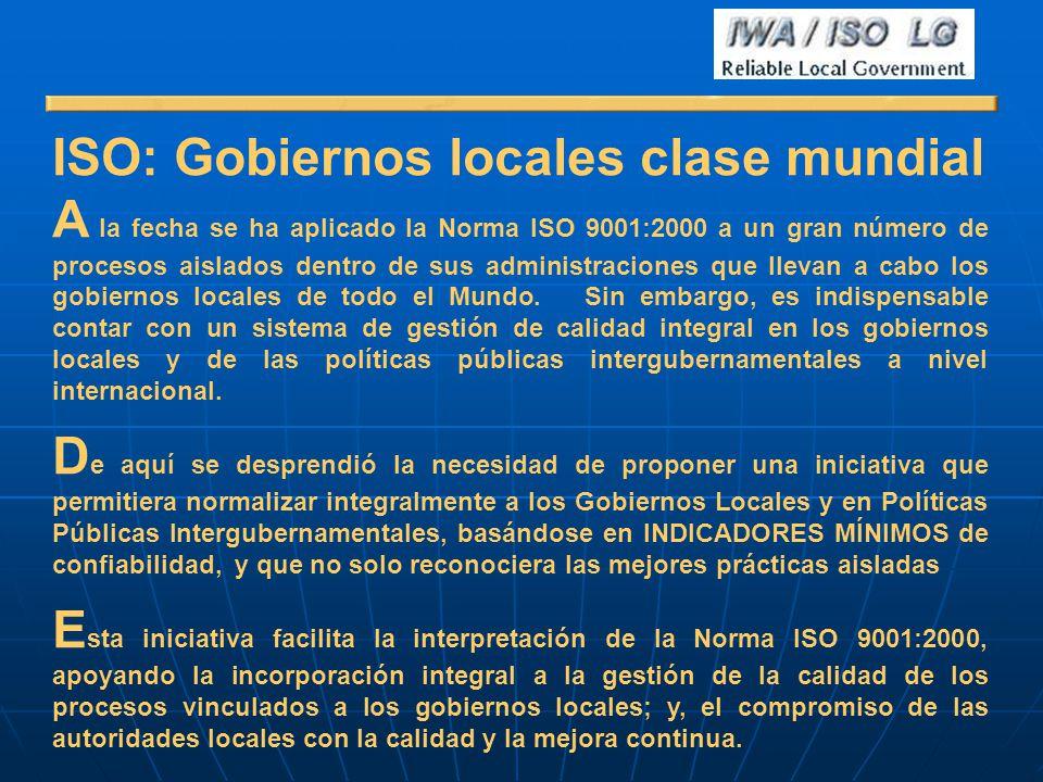 ISO: Gobiernos locales clase mundial