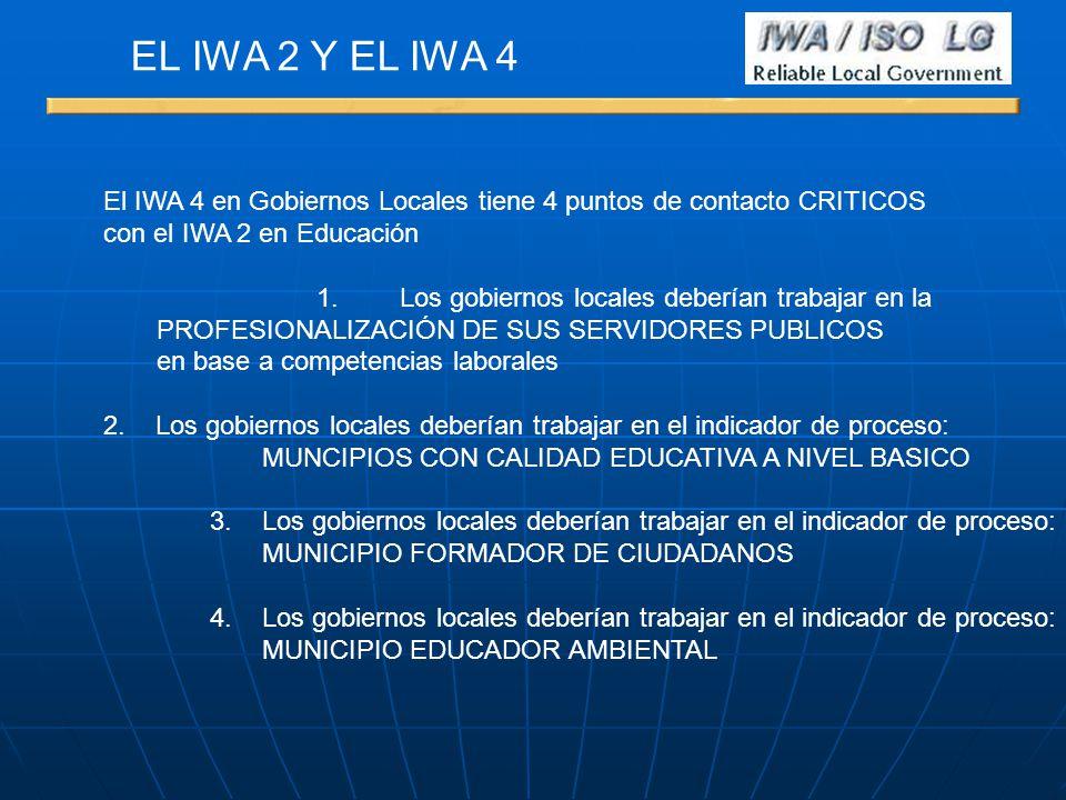 EL IWA 2 Y EL IWA 4 El IWA 4 en Gobiernos Locales tiene 4 puntos de contacto CRITICOS. con el IWA 2 en Educación.