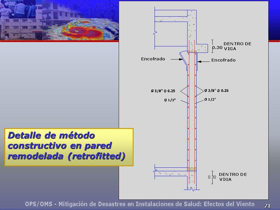 Detalle de método constructivo en pared remodelada (retrofitted)