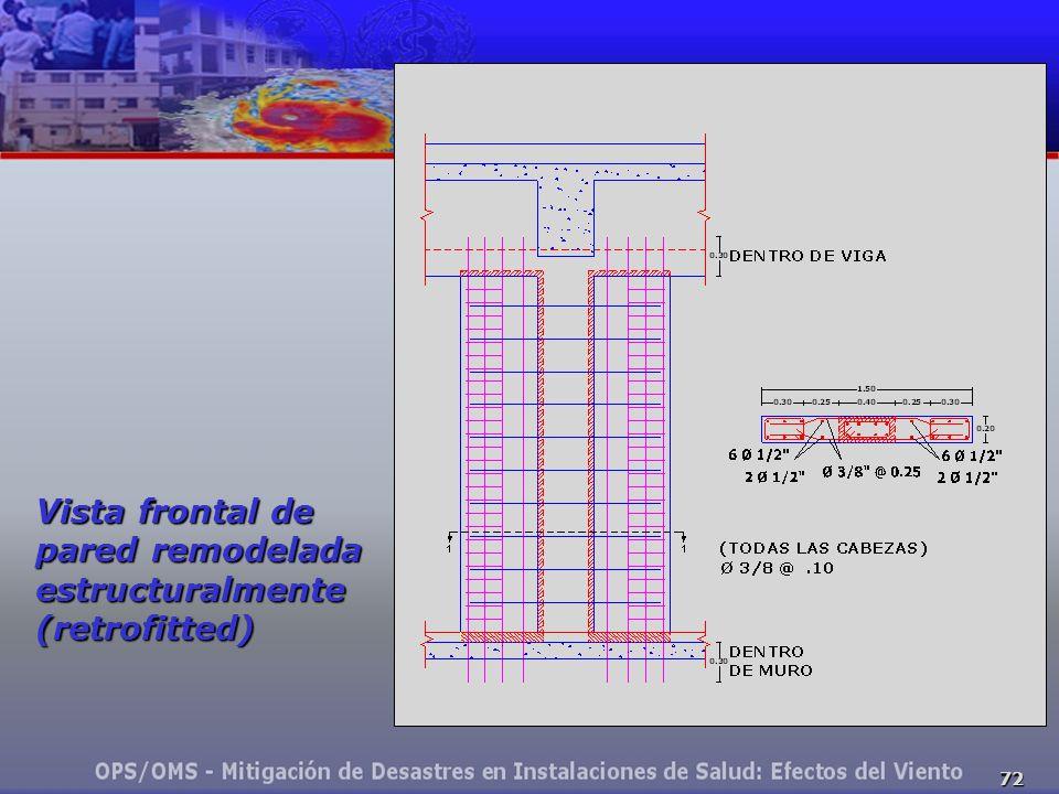 Vista frontal de pared remodelada estructuralmente (retrofitted)