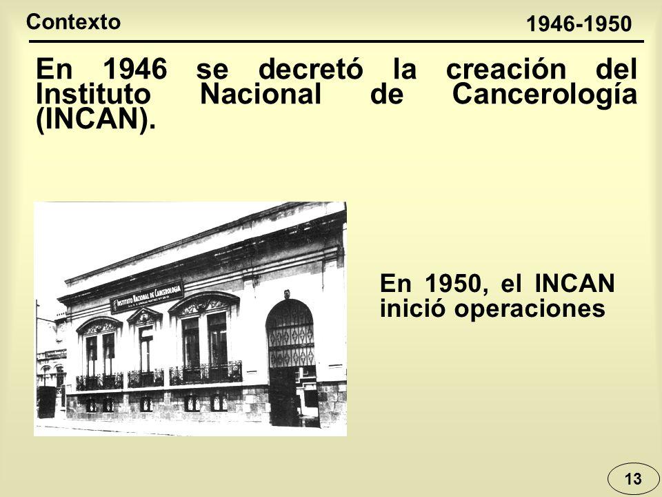 Contexto 1946-1950. En 1946 se decretó la creación del Instituto Nacional de Cancerología (INCAN).