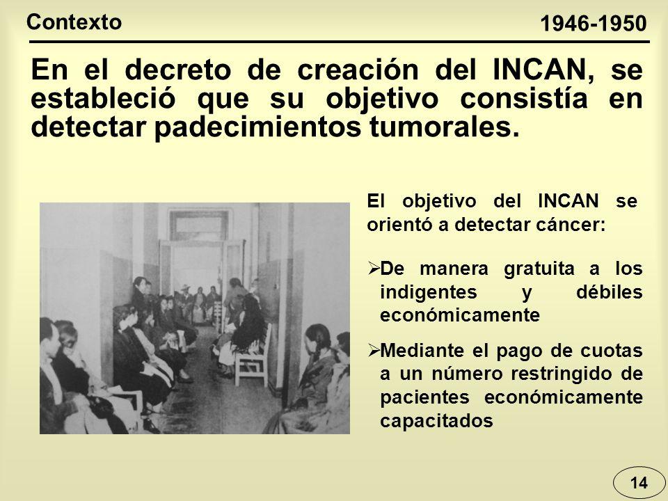 Contexto 1946-1950. En el decreto de creación del INCAN, se estableció que su objetivo consistía en detectar padecimientos tumorales.