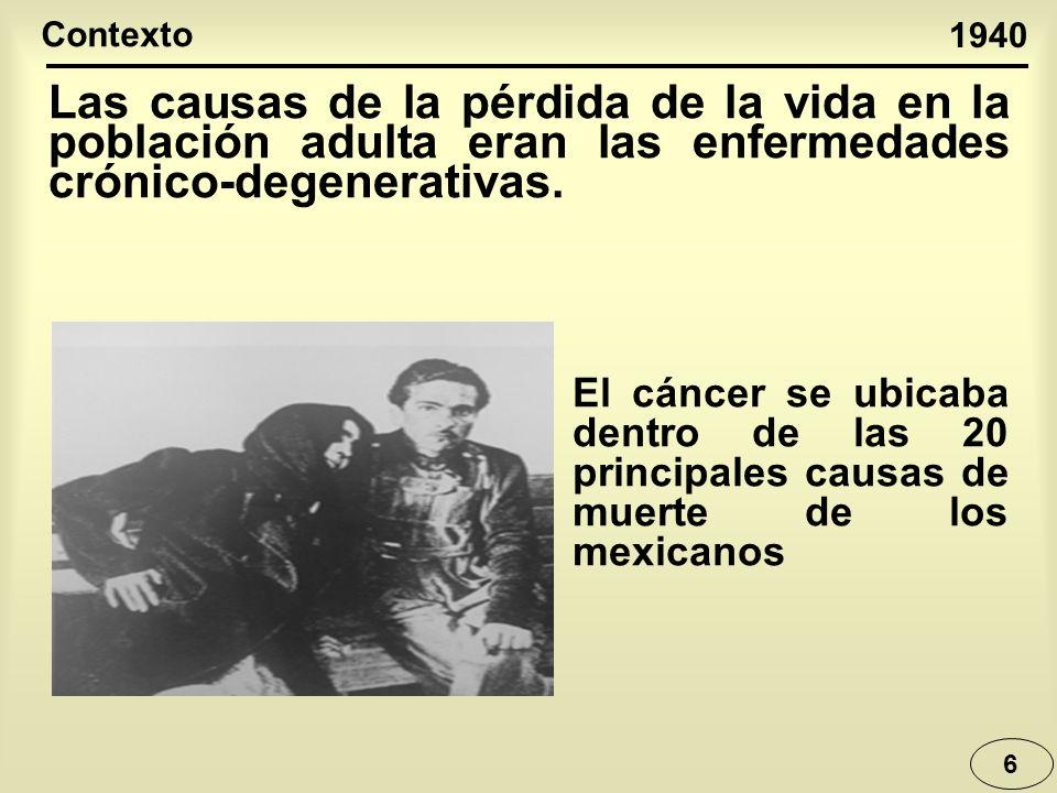 Contexto 1940. Las causas de la pérdida de la vida en la población adulta eran las enfermedades crónico-degenerativas.