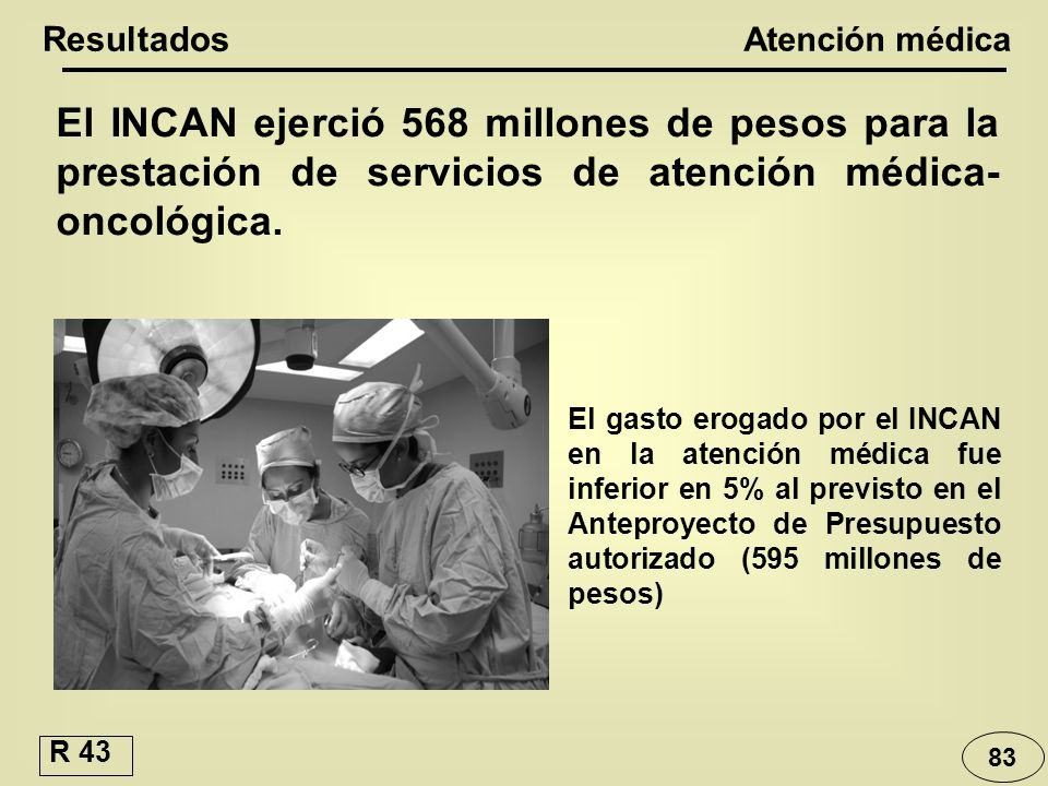 Resultados Atención médica. El INCAN ejerció 568 millones de pesos para la prestación de servicios de atención médica-oncológica.