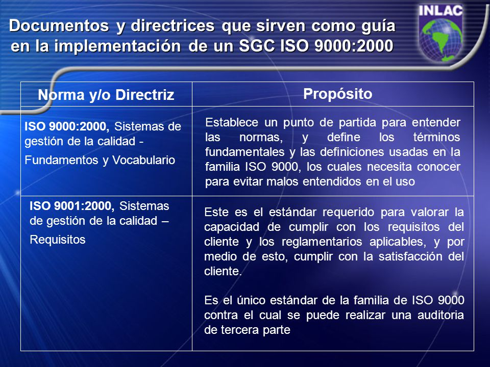 Documentos y directrices que sirven como guía