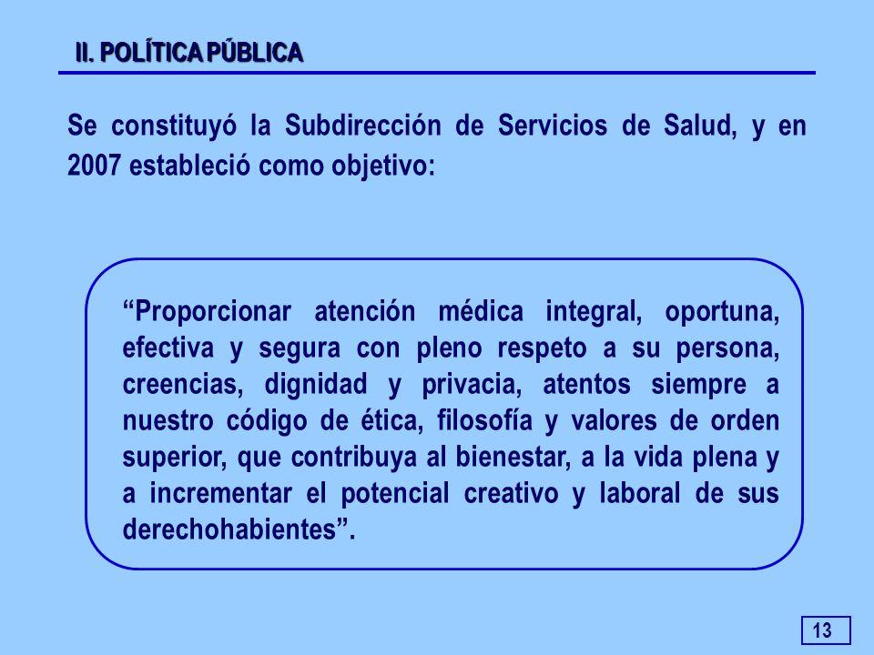 II. POLÍTICA PÚBLICA Se constituyó la Subdirección de Servicios de Salud, y en 2007 estableció como objetivo: