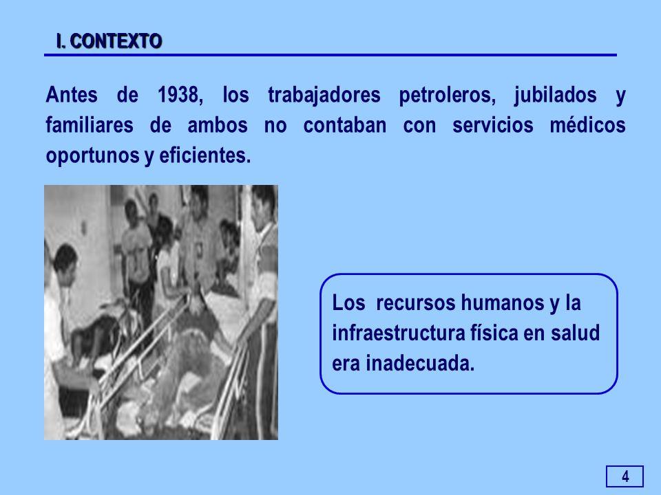 I. CONTEXTO Antes de 1938, los trabajadores petroleros, jubilados y familiares de ambos no contaban con servicios médicos oportunos y eficientes.